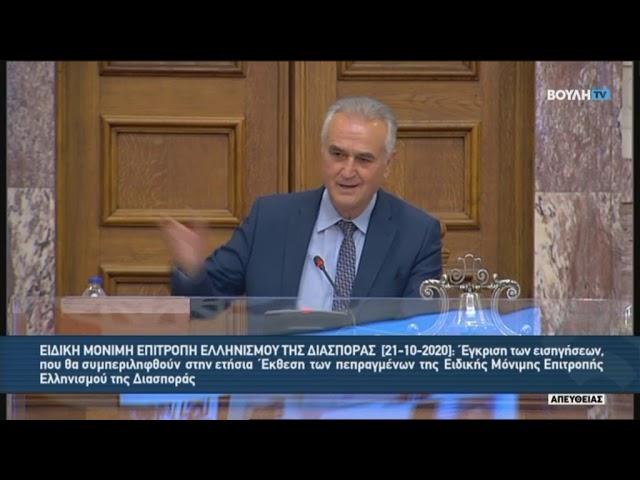 Συνεδρίαση της Επιτροπής Ελληνισμού της Διασποράς 21.10.2020