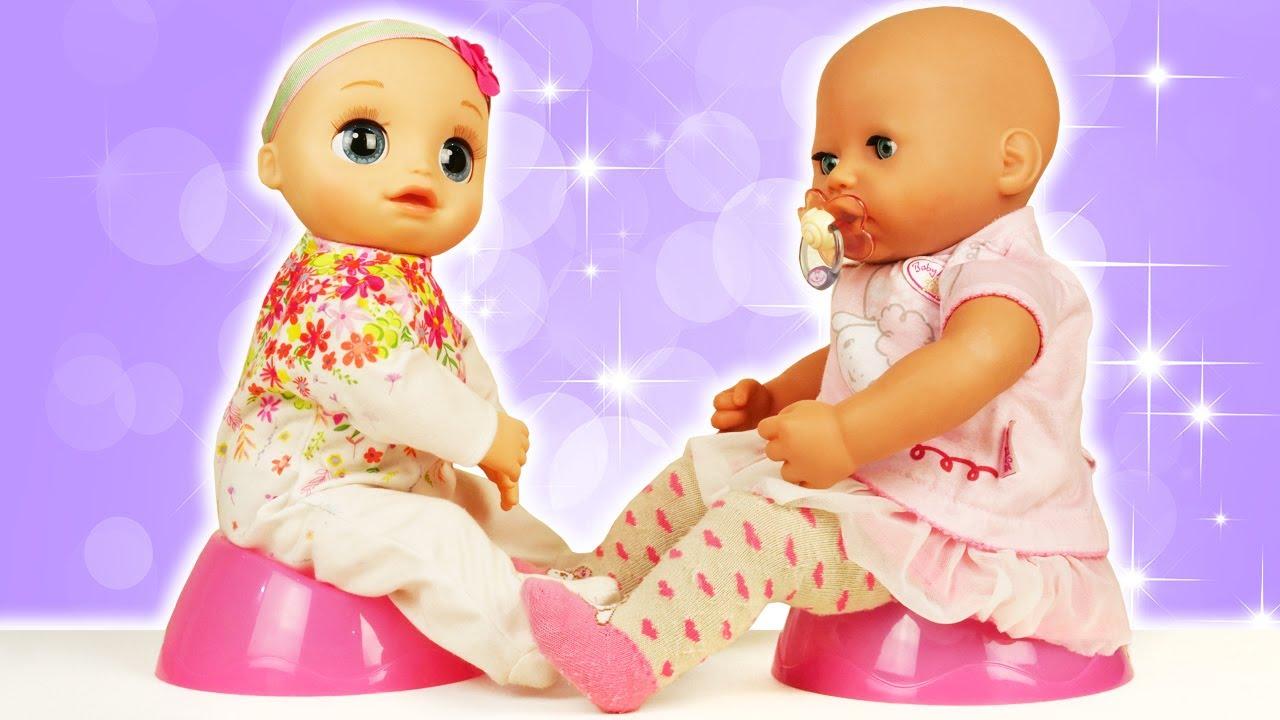 As bonecas aprendem a usar o penico! Aprendendo a ser mamãe. Historinha com a boneca Baby Born