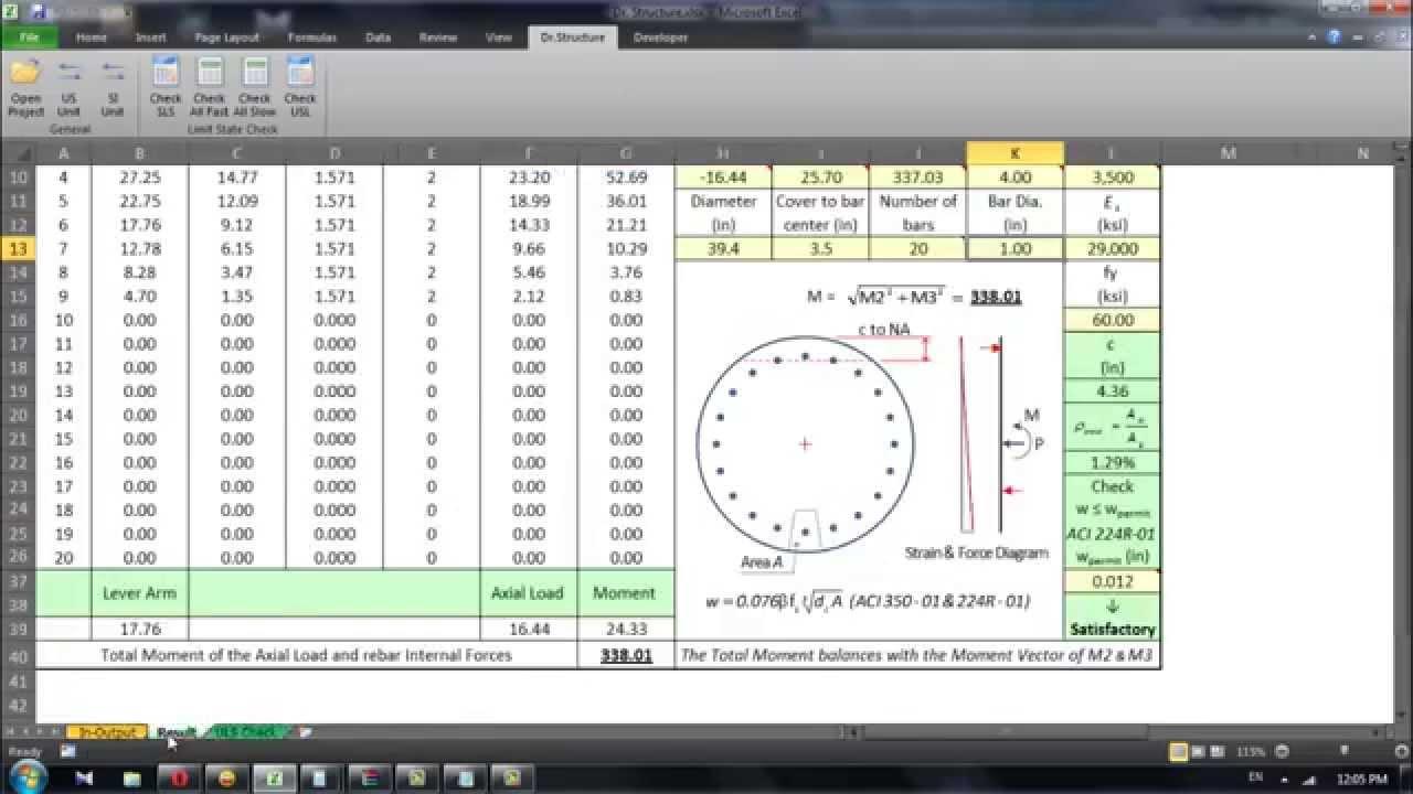 Circular Section Column Amp Pile Calculation Youtube