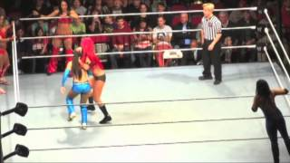 Eva Marie spanks Layla,Layla pantsed and Brie wedgie