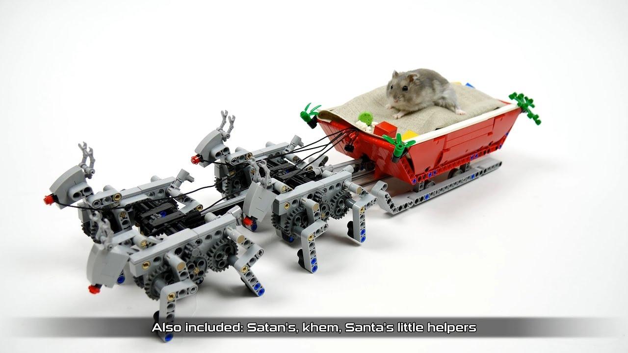 Lego Santa\'s Sleigh pulled by motorized reindeer - YouTube