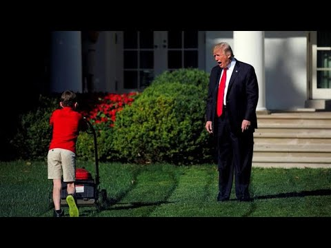 Boy Fulfills Unusual Request Of Mowing White House Lawn