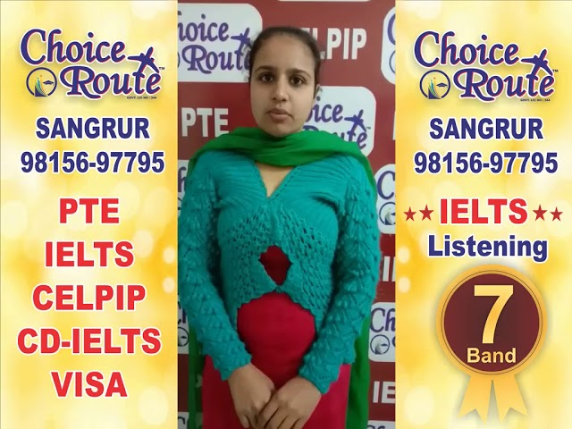 Congratulations Virpal Kaur - Choice Route is the Best PTE and IELTS institute in Sangrur City.