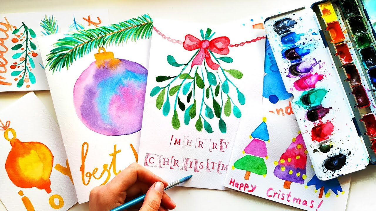 5 Diy Watercolor Christmas Cards Painting Ideas Easy Xmas Crafts To Sell 2019 Youtube