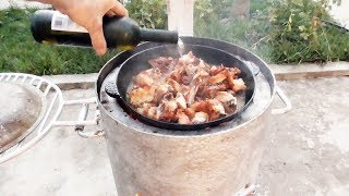 Курица в вине,Кефли бече . Chikken in white wine.Organic food from Kavkaza