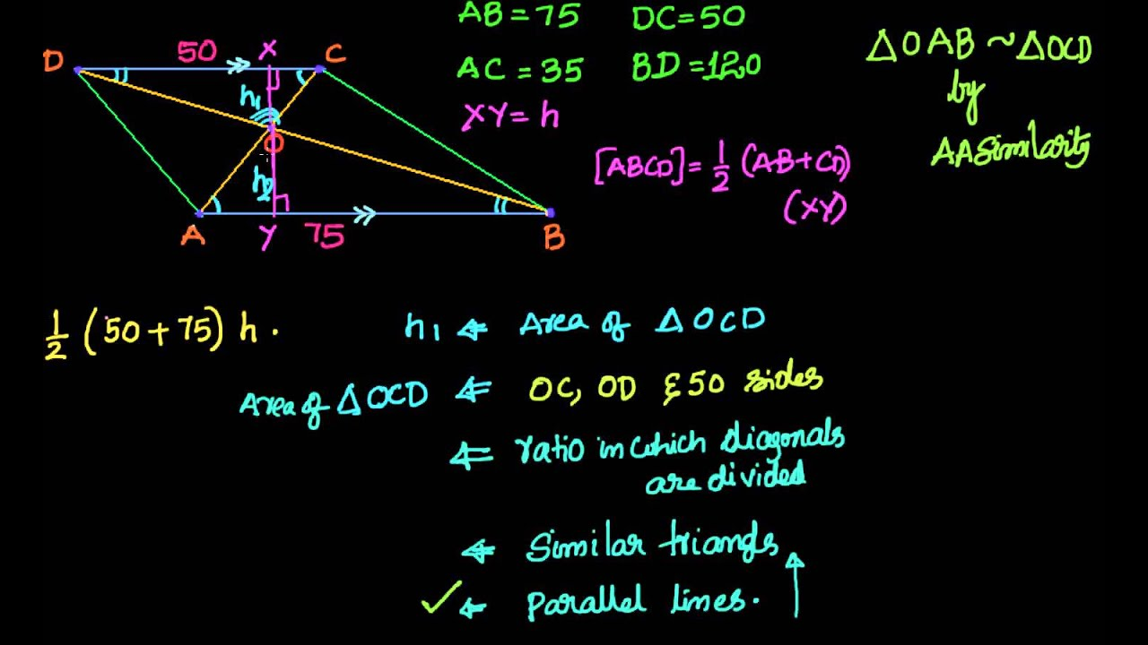 Geometry: Similar Triangles: Area Of Trapezium Given The Length Of Bases  And Diagonals
