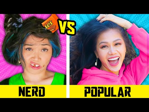 HOW TO BECOME POPULAR || Nerd VS Popular in 24 Hours Funny School Life Hacks by Spy Ninjas