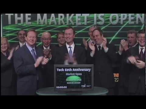 Teck Resources (TCK.B:TSX) opens Toronto Stock Exchange, May 8, 2012.