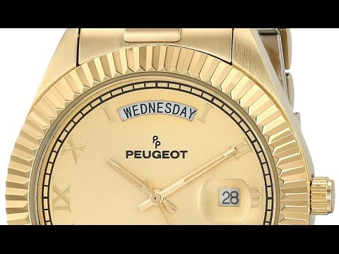 peugeot 14k all gold stainless steel luxury watch - youtube