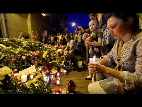 Floral Tributes for MH17 Victims Outside Dutch Embassy in Kiev