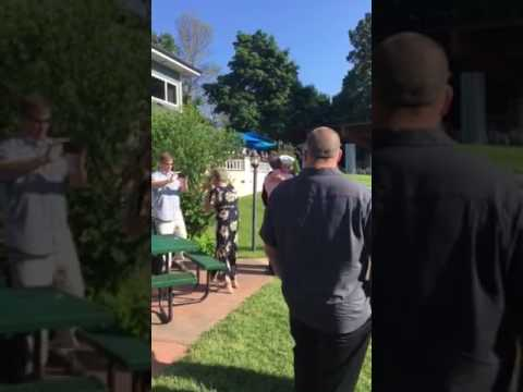 Sailor surprises grandparents at their 50th Anniversary Party