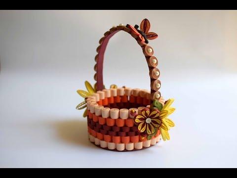 Quilled Basket Part 1: Paper Basket/ Quilling Basket/ Quilled Flower Basket