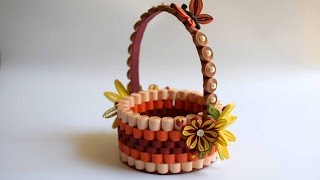 Quilled Basket Part 1: Paper Basket/ Quilling Basket/ Quilled Flower Basket