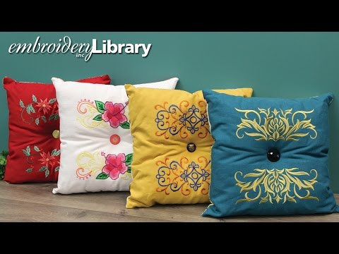 Embroidered Tufted Pillow