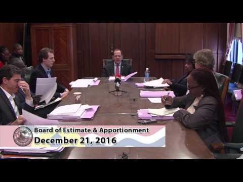 Board of Estimate  & Apportionment Meeting Dec. 21, 2016