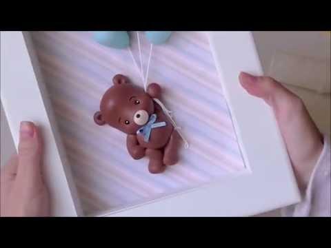 DIY Quadrinho Maternidade Marrom e Azul - Ursinho e balões em biscuit