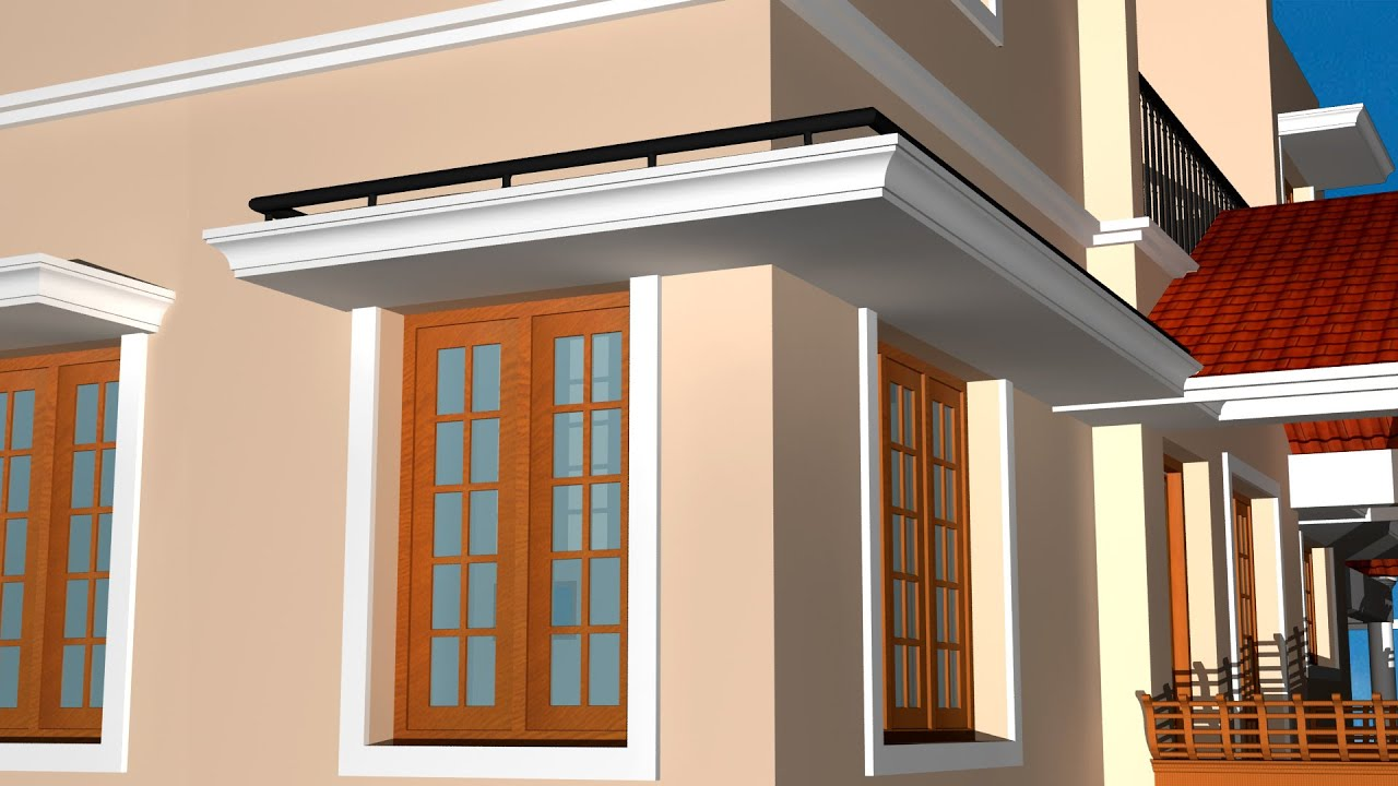 Creating sun shades with detailing autocad 3d sun shade youtube - House window design photos ...