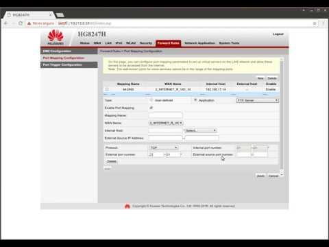 Abrir puertos ONT router GPON Huawei EG8245H EG8247H
