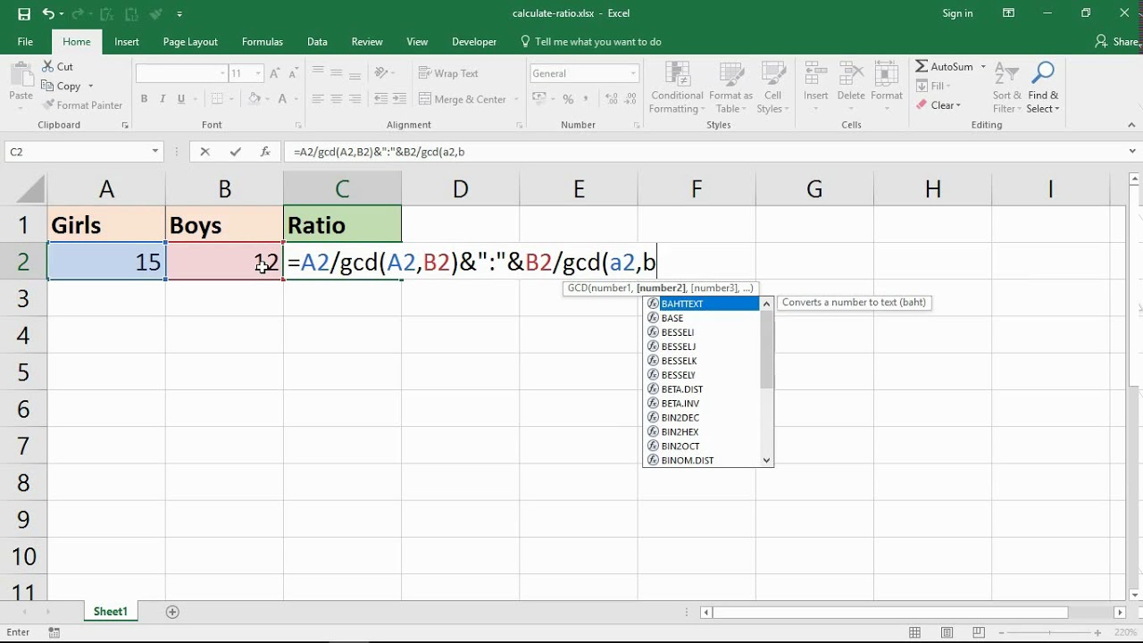 calculate the ratio of two numbers in excel