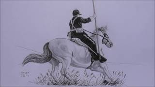 US Army soldier riding a horse.