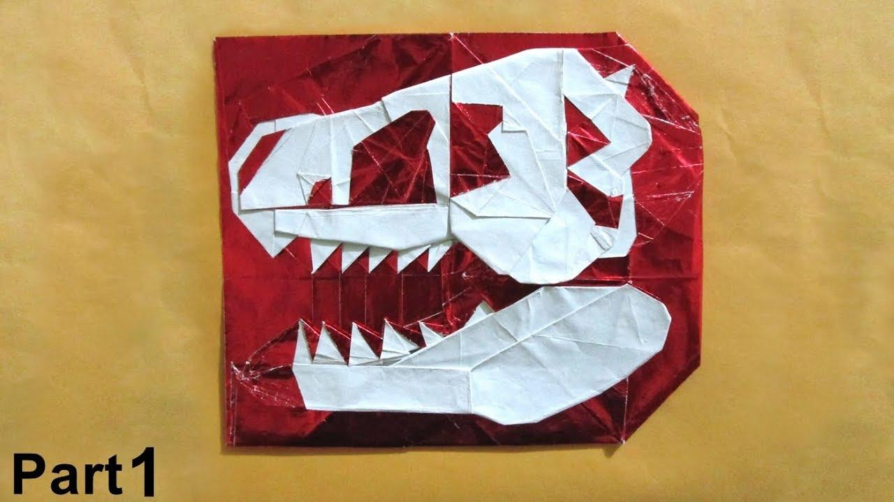 Origami A Skull Of Dinosaur Tutorial Kikuchi Masato Part 1 Ein Schadel Dinosauriers
