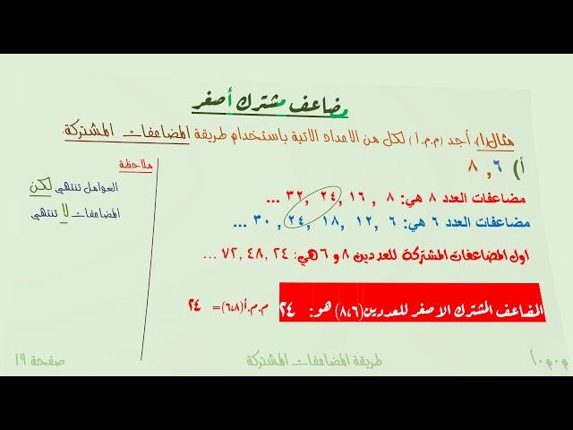 المضاعف المشترك الاصغر طريقة المضاعفات المشتركة - الصف الخامس