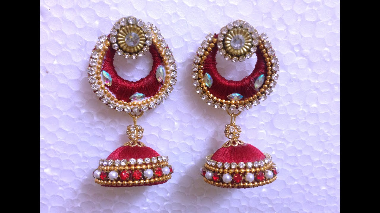 thread product handmade silk earrings jhumki buy