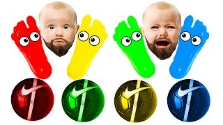BEARDED BABY CRY Learn Colors With Colors Ball and Colors Foot Xylophone  Colors Body Painting Toys