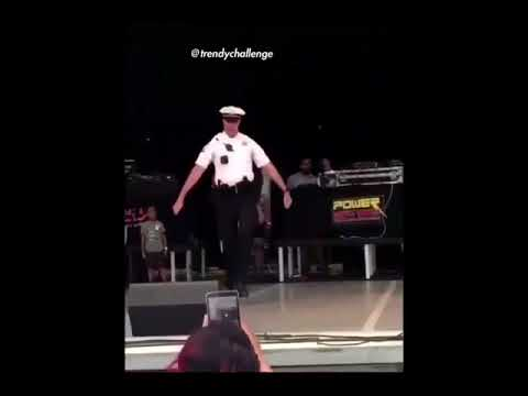 Cop does Shoot Challenge on Stage