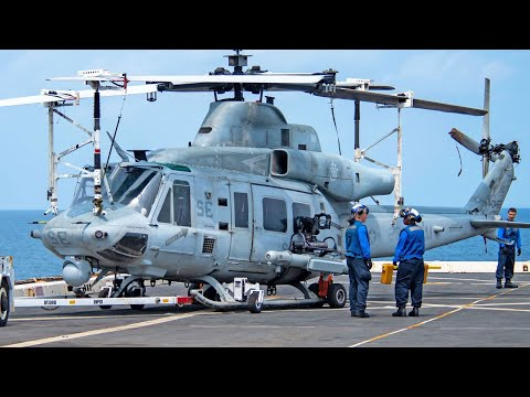 UH-1Y Huey, AH-1Z Viper And SH-60R Helicopters - USS Green Bay Flight Operations US Navy