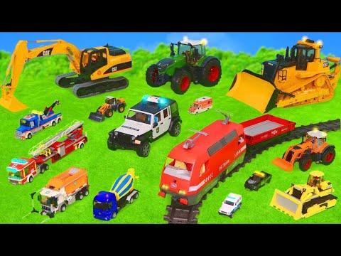 Pelleteuse, tractopelle, Camion de pompier, police, trains jouets pour enfants Excavator Toys