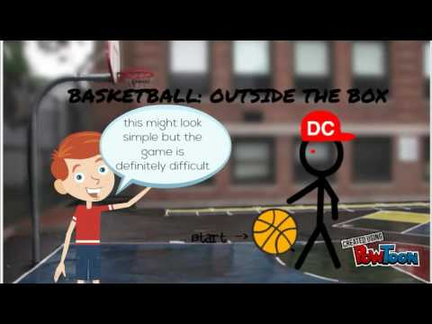 game advert for basketball: outside the box