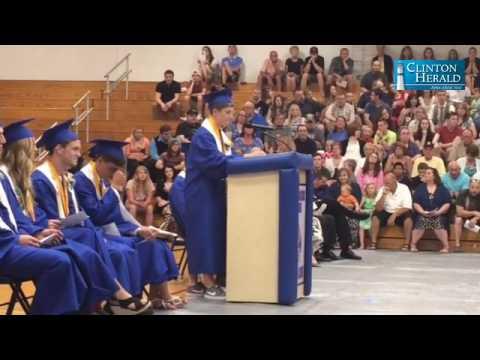 Jacob Pulse gives a valedictorian speech at the Camanche High School graduation Sunday.