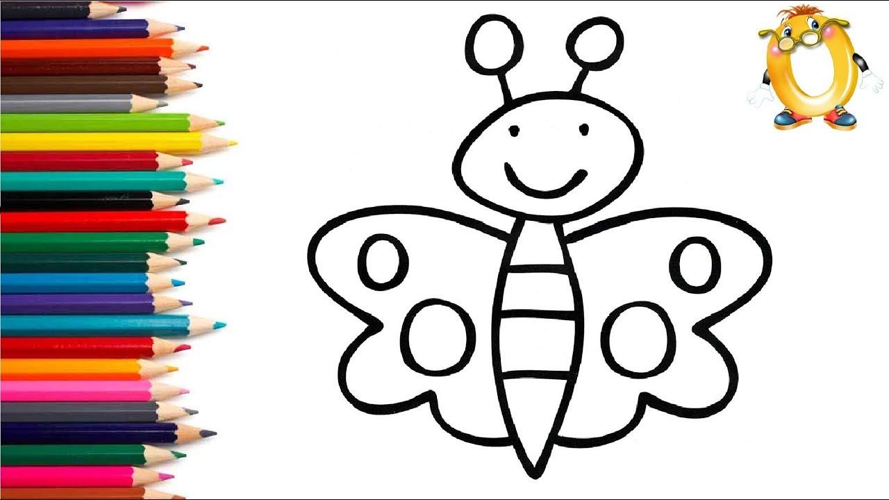 Раскраска для детей БАБОЧКА. Мультик - Раскраска. Учим ...