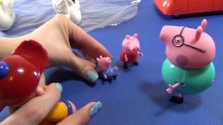 Peppa Pig and George ride the swans. Daddy Pig takes them to the amusement park