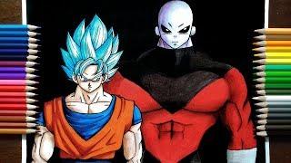 Drawing Super Saiyan Blue Goku vs Jiren