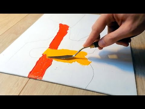 Acrylic Abstract Landscape Painting like Etel Adnan | Simple Palette Knife Techniques | Work #74