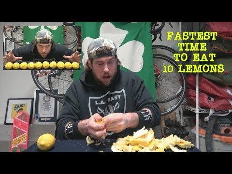 How Fast Can A Human Speed Eat 10 Lemons?   L.A. BEAST