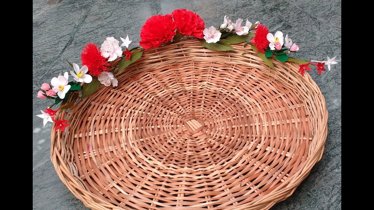 Diy How To Decorate Basket Tray With Paper Flowers Youtube