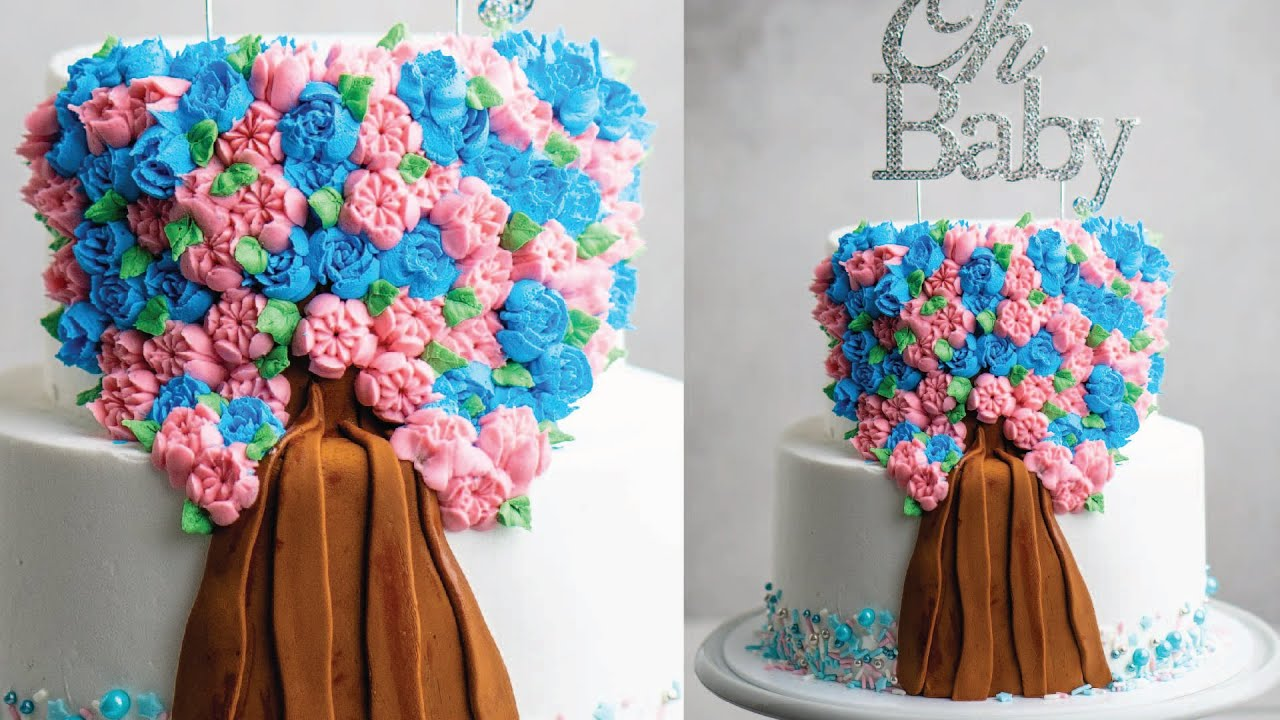 How to Create a Gender Reveal Surprise Center Cake- Russian Piping tips and Buttercream