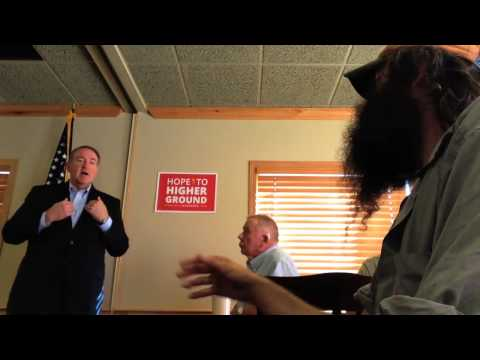 "Mike Huckabee and Rod Webber discuss the Bible at a ""Town Hall"" in Iowa"