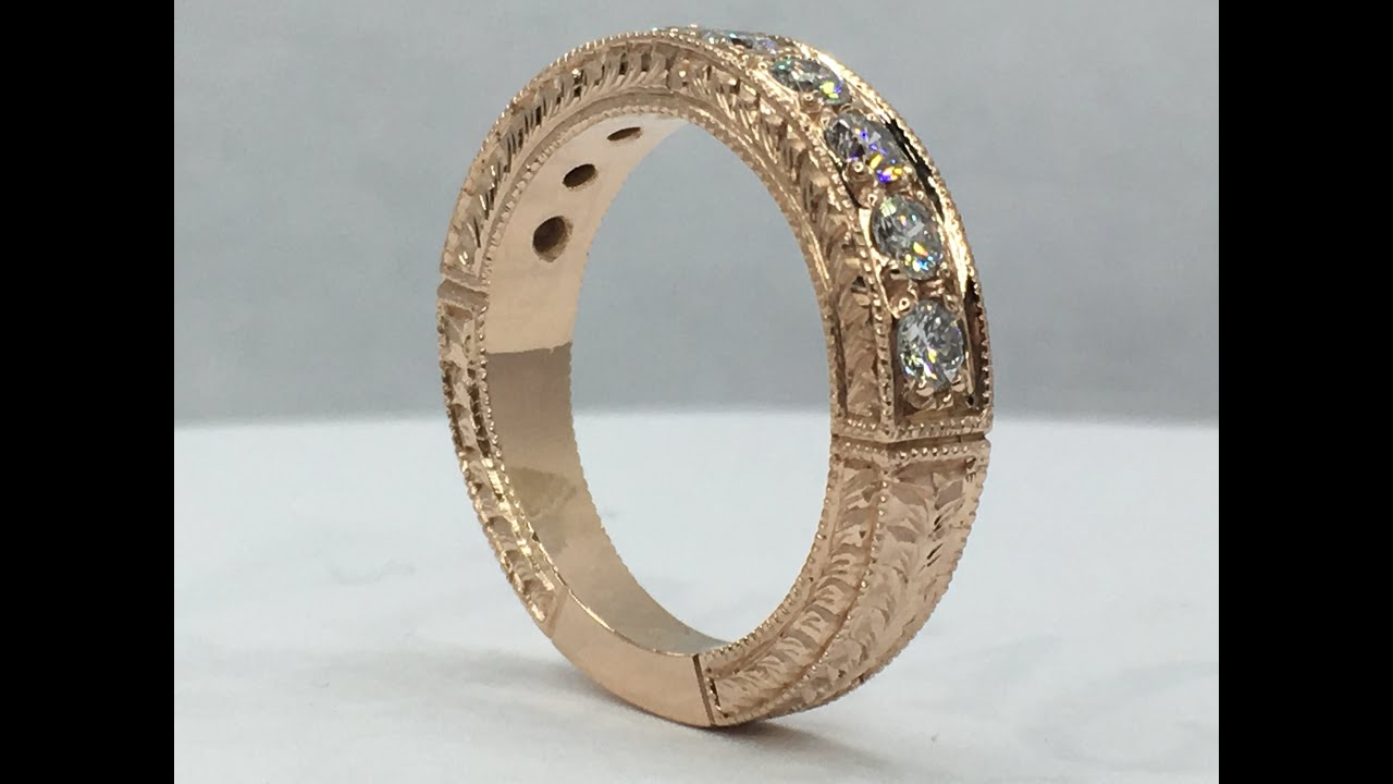 Making a hand engraved rose gold pave diamond ring from scratch