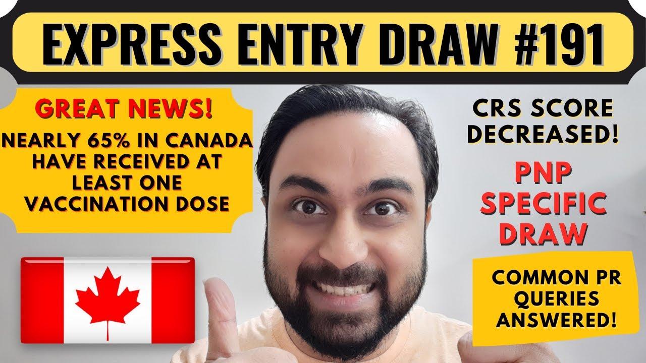 Express Entry Draw #191 For Canada PR | Canada PNP Draw | Dream Canada