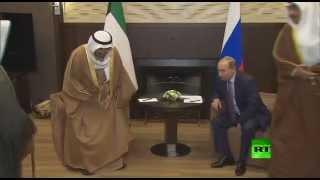 لحظة الرئيس بوتين وأمير الكويت الشيخ صباح الأحمد الجابر الصباح في سوتشي