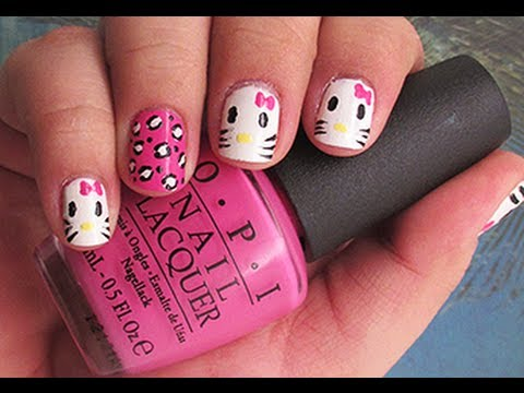 Hello Kitty Nail Art For Short Nails Tutorial