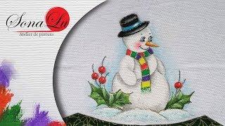 Como Pintar Boneco de Neve com Chapéu em Tecido
