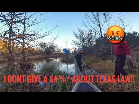 """Kayak Bass Fishing- PISSED OFF Land Owners CAUGHT ON FILM!!** Try to Run Us Off """"their"""" River!!"""