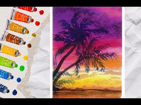 Sunset acrylic painting tutorial for beginners easy / how to paint landscape with acrylics
