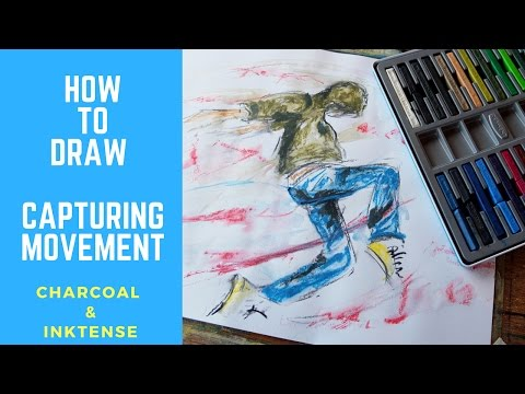 How To Draw – person dancing – painting with inktense to capture movement