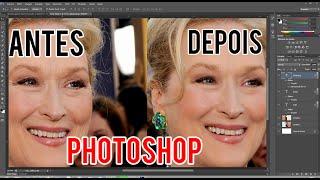 Aprenda como retirar rugas e marca de expressão Adobe Photoshop